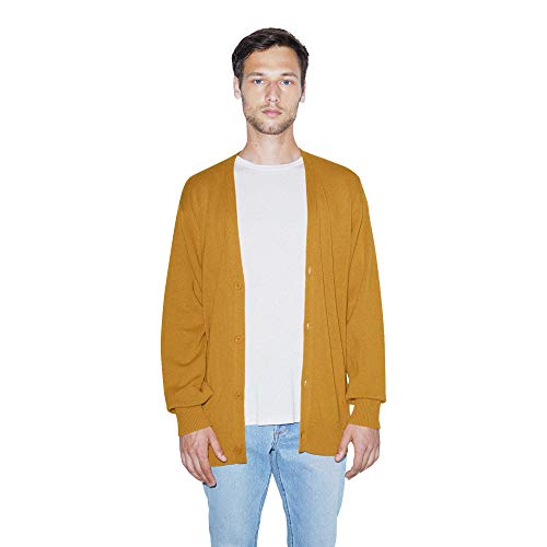 American Apparel Men's Basic Knit Long Sleeve Cardigan, Honey, Large