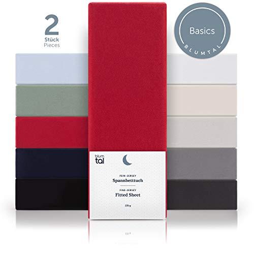 Blumtal Basics 2er Set Spannbettlaken 100x200cm - 100% Baumwolle Bettlaken, bis 20cm Matratzenhöhe, Rot