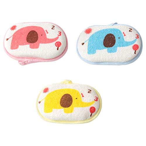 Preisvergleich Produktbild Artibetter 3-teiliges Badeschwamm für Kinder,  süßes Elefanten-Muster,  weicher Duschschwamm,  Reinigungswerkzeug für Kinder und Babys