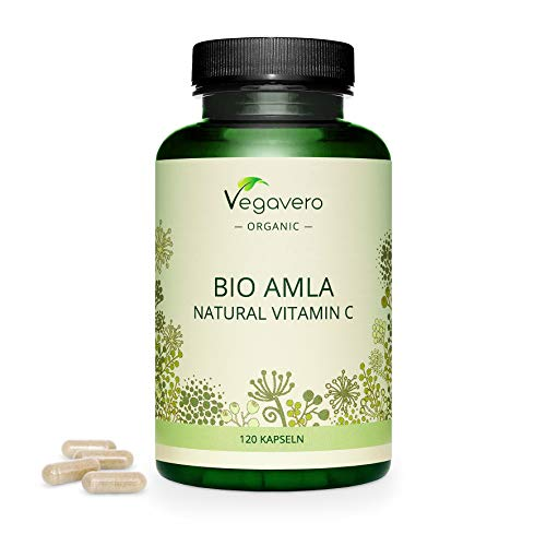 Organic Amla Vegavero | with 50% Vitamin C for Immune System* | The Only One with Extract & Powder: Higher Bioavailability | NO Additives | 100% Vegan | Ayurveda | 120 Capsules