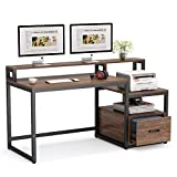 Tribesigns Computer Desk with File Drawer and Storage Shelves, 59 inch Vintage Large Home Office Desk Computer Table Study Writing Desk Workstation with Hutch (Dk Brown)