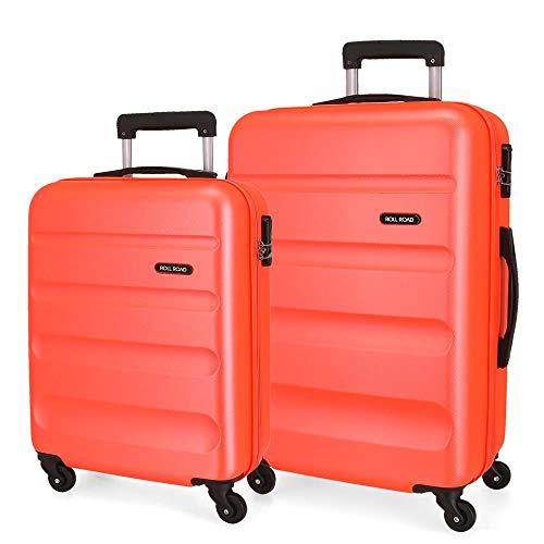 Roll Road Flex Juego de maletas Naranja 55/65 cms Rígida ABS Cierre combinación 91L 4 Ruedas Equipaje de Mano