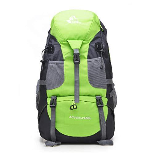 Huien 50L outdoor waterdichte rugzak heren trekking reizen rugzakken vrouwen sporttas klimmen bergbeklimmen tassen wandelrugzak, groene kleur, 50-70L