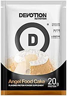 Devotion Nutrition Whey Protein Powder, Angel Food Cake Flavor, 20g Protein, Sugar Free, 12 Single Serving Packets, Packaging May Vary