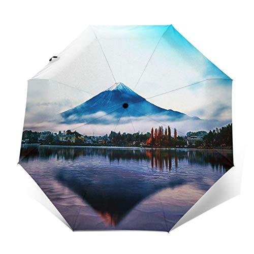 Regenschirm Taschenschirm Kompakter Falt-Regenschirm, Winddichter, Auf-Zu-Automatik, Verstärktes Dach, Ergonomischer Griff, Schirm-Tasche, Berg Mt früh