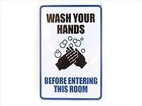 ブリキ看板  WASH YOUR HANDS