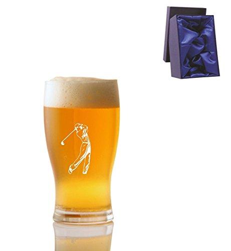 1 Pint Tulp Bierglas met Golfer Design en Luxe Presentatie Box