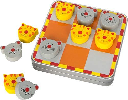 """Small Foot by Legler Magnet """"Tic Tac Toe"""" Katz und Maus, in einer Metallbox mit magnetischen Spielsteinen aus Holz, schult die Logik und vertreibt die Langeweile, ideal zum Mitnehmen, ein spaßiges Strategiespiel für Kinder ab 5 Jahren"""