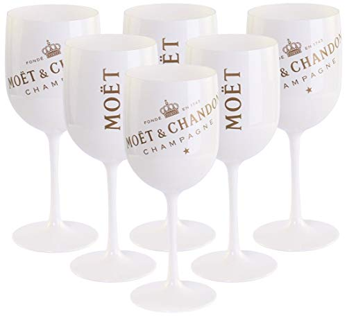 Moët & Chandon Ice Impérial Champagne Lot de 6 grands verres blanc/or en acrylique Gobelet