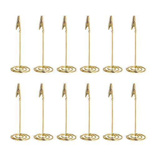 Tincogo 12 Stück Gold Memo Clip Halter Ständer Foto Clip Halter büroklammern Halter für Hochzeits Geburtstags Party Dekor/Büro Klipp Gebrauch