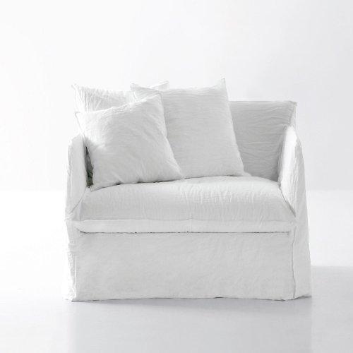 Gervasoni Ghost 09 Lounge Sessel, weiß Stoff Lino Bianco Inkl. 2 Rückenkissen Dracon Daunen