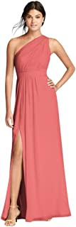Long Chiffon Bridesmaid Dress with Asymmetric Neckline Style F18055