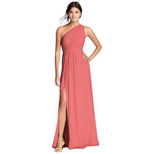 c3ce36cae0a84 David's Bridal Long Chiffon Bridesmaid Dress with Asymmetric Neckline Style  F18055
