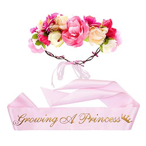 """""""Growing a Princess"""" Sash & Flower Crown Kit - Baby Shower Sash Princess Baby Shower Baby Sprinkle (Pink & Gold)"""