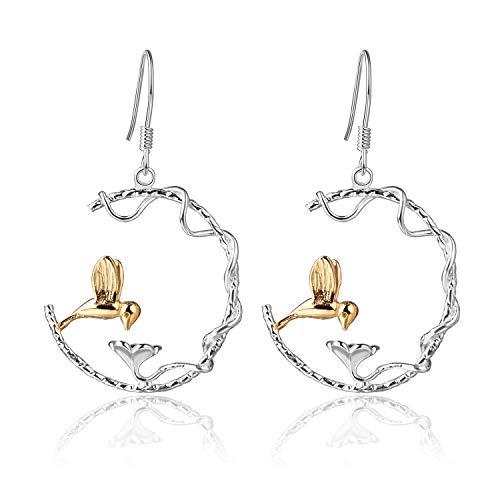 Lotus Fun S925 Sterling Silber Perfekte Reizende Vogel Baumeln Ohrringe Kreativ Handgemachter Einzigartiger Schmuck für Frauen und Mädchen