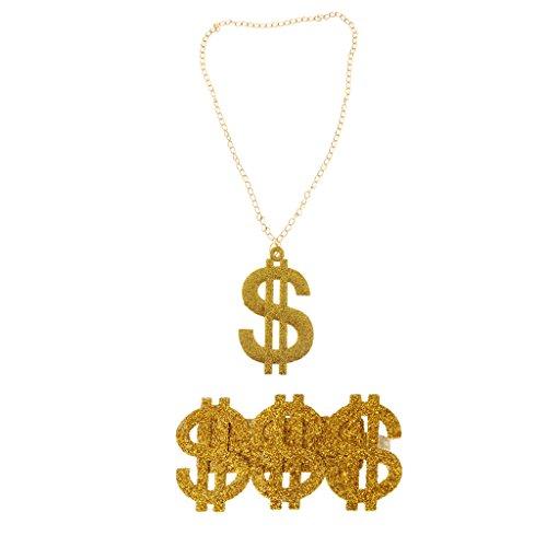 #N/A/a Punk Hip Hop Gold US Dollar Collar Anillo Conjunto de Joyas Traje de Fiesta para Hombres