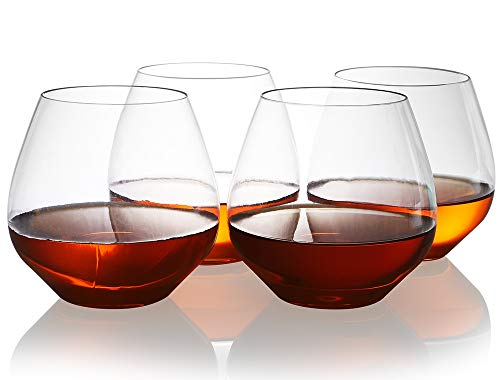 QHYK Unzerbrechliche Weingläser, Set von 4, unzerbrechliche bruchfeste stemless Wein-Plastikgläser, Plastikweingläser wiederverwendbarer geben für Partei, Hochzeiten und Stäbe, 18oz