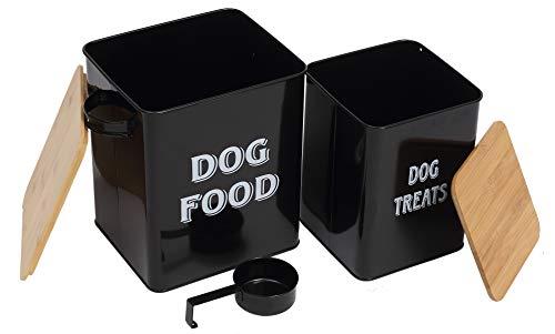 Morezi Tierfutterbehälter, hundefutter aufbewahrungsbox,hundefutter behälter mit Schaufel und luftdichtem Holzdeckel, Aufbewahrung von Lebensmitteln und organisations-schwarz