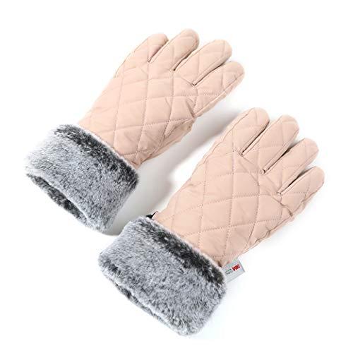 accsa Damen Skihandschuhe für Winter 3M Thinsulate Warm Pelz Eleganz Handschuhe für Frauen Winddicht & Wasserdicht Winterhandschuhe Fäustlinge für Party Wandern Reisen Skifahren