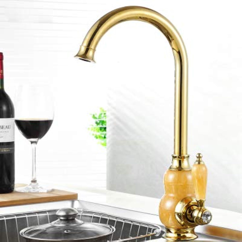 CZOOR Antike Luxus verGoldet Messing Küchenarmatur mit Jade Marmor Stein Dekoration Deck Mount sitzen Typ, A
