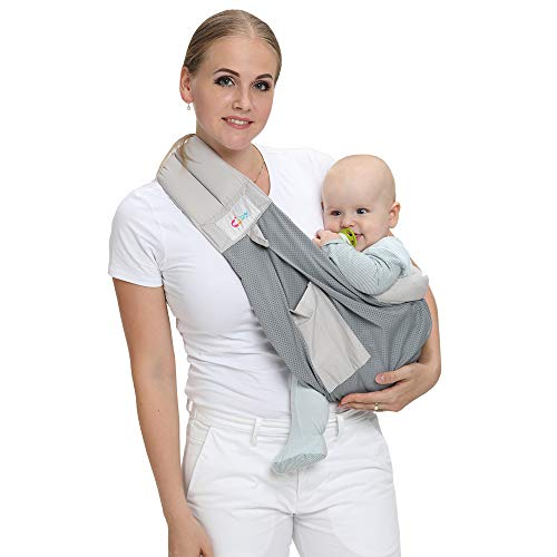 Baby Carrier by Cuby, Natural Cotton Baby Sling Baby Holder Extra Comfortable for Easy Wearing Carrying of Newborn, Infant Toddler and Ideal for Baby Registry, Nursing,Breastfeeding (Breathable Gray)