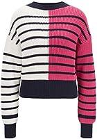 BOSS Damen Fabrinna Pullover aus Baumwoll-Mix mit Streifen und Colour-Block-Design