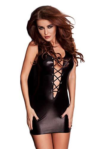 Selente Love & Fun Wet-Look Club/Mini-Kleid (Made in EU) aus hochwertigem Kunst/Lack-Leder in toller Geschenkbox, Gr.XXL/3XL, schwarz schnürrung 2