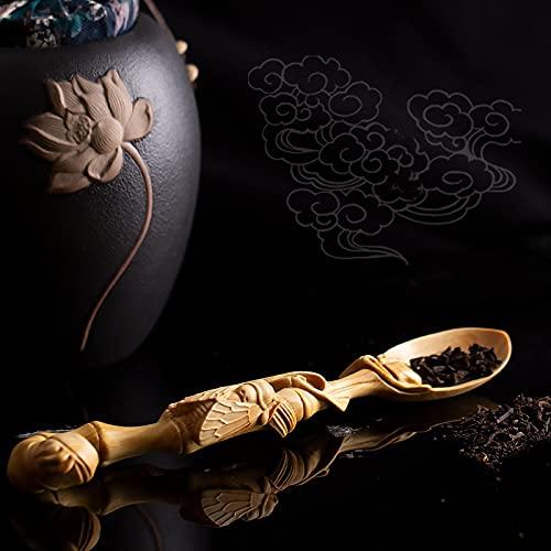 RAN-Esculturas China Zen Cuchara de té té Pala de té Kung fu Ceremonia de té, bojas de Tallado de bojas de té de la Cuchara de té Estatua (Color : D)