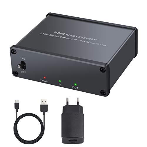 HDMI Extractor Audio 4K 3D HDMI a HDMI Optico TOSLINK SPDIF + Coaxial Convertidor de Audio HDMI Separador de Audio Con Interruptor de Encendido y Support 4K@30khz Adaptor de Corriente Incluido