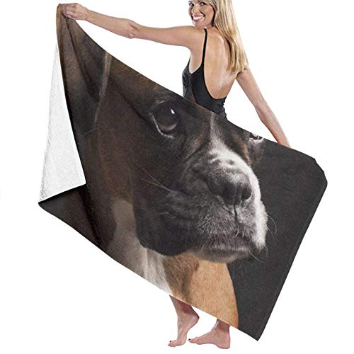 XCNGG Retrato de Perro Boxer Toalla de baño Suave y súper Absorbente, Adecuada para Hotel, Piscina, Gimnasio, Playa, 32 x 52 Pulgadas
