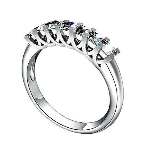 Adokiss Alianzas de plata 925, anillo de boda para mujer, anillo de compromiso de 4 puntas, corte princesa, circonitas blancas, talla 50 (15,9)
