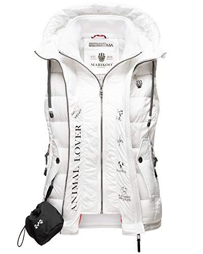 Marikoo Damen Weste Outdoor Jacke Steppweste Vegan Vest Gefüttert Kapuze 10 Farben XS - XXL TAISAA (Weiß, XXL)