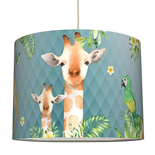 anna wand Hängelampe Jolly Jungle/BLAU – Lampenschirm für Kinder/Baby Lampe mit Dschungel-Tieren – Sanftes Kinderzimmer Licht Mädchen & Junge – ø 40 x 30 cm