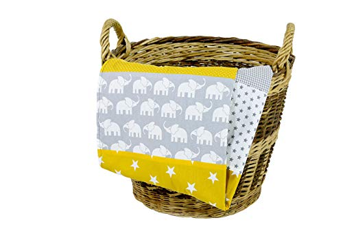 """ULLENBOOM ® Babydecke 70x100 cm """"Elefant Gelb"""" (Made in EU) - Baby Kuscheldecke aus ÖkoTex Baumwolle & Fleece, ideal als Kinderwagendecke oder Spieldecke geeignet, Design: Sterne, Punkte, Patchwork"""
