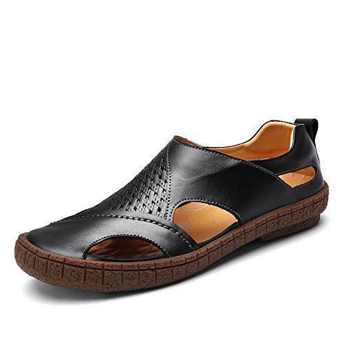 Kfhfhsdgsamlx Tacón Plano para Hombres Vacío Color satisfactorio Sandalias de Punta Cerrada Se Deslizan en Zapatos (Color : Black, Size : 42EU)