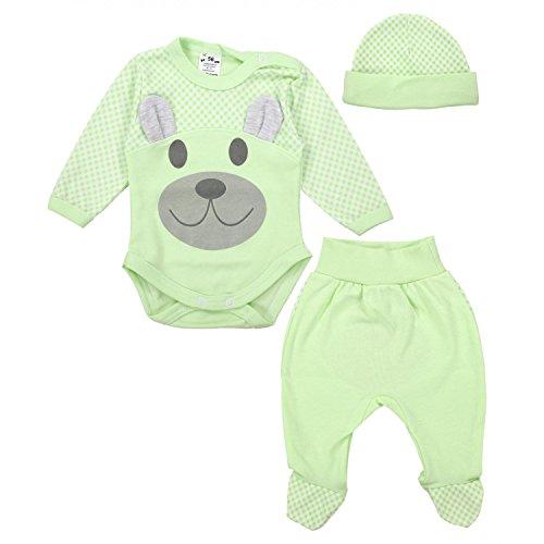 TupTam Baby Kleidung Set Body Strampelhose Mütze Teddybär, Farbe: Seladongrün, Größe: 56
