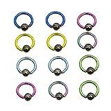 Luxe Modz - Juego de 12 anillos de titanio anodizado colorido con bola de hematita (14 g)