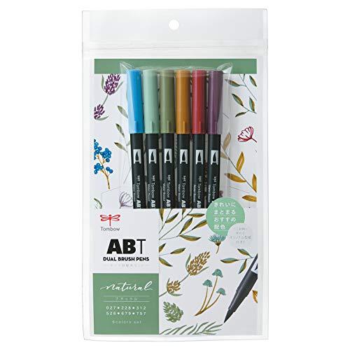 トンボ鉛筆 筆ペン デュアルブラッシュペン ABT 6色セット ナチュラル AB-T6CNT