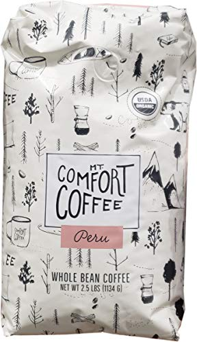Mount Comfort Coffee's Whole Bean Organic Peru Coffee, 2.5 Pound