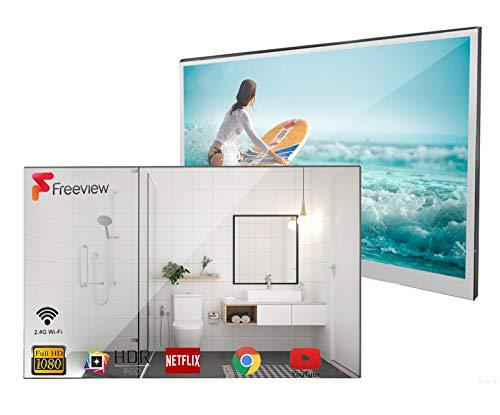 Soulaca 22 Zoll Smart Spiegel TV IP66 wasserdicht TV für Badezimmer, Hotel mit Fernbedienung (DVB-T/DVB-T2/DVB-C/DVB-S)