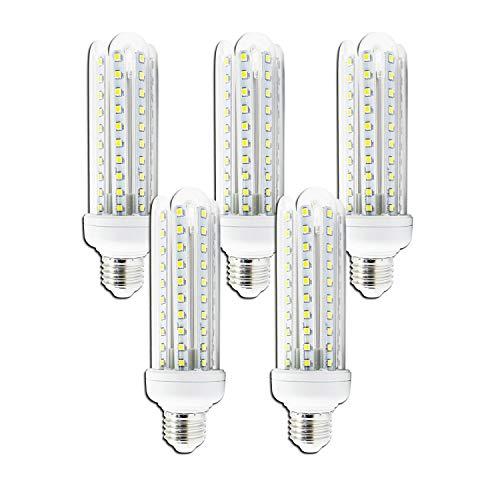 Aigostar - Bombilla LED B5 T3 4U, E27,15W, Ángulo 360°, Luz Blanca Fría 6400K, 1200 lúmenes, no regulable -Pack de 5
