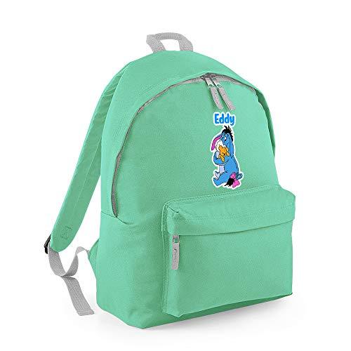 Personalised Crazy Cutest Donkey with Teddy Cartoon Animal Kids Fashion Backpack Girls/Boys/Kids Back to School Rucksacks Shoulder Bag Birthday Gift (Mint Light Grey)