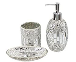3 Piece Mosaic Glass Tile Bathroom Accessory Set