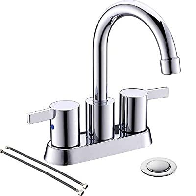 4 Inch 2 Handle Centerset Chrome Lead-Free Bathroom Faucet, with Copper Pop Up Drain and Two Water Supply Lines, BF015-1-C