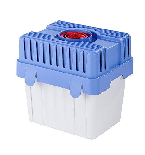 WENKO Feuchtigkeitskiller mit 5 kg Granulatblock, Raumentfeuchter, fasst bis zu 8 l Feuchtigkeit, laborgeprüft, nachfüllbar, reduziert Schimmel & Gerüche, 29 x 29 x 24 cm, Grau / Blau