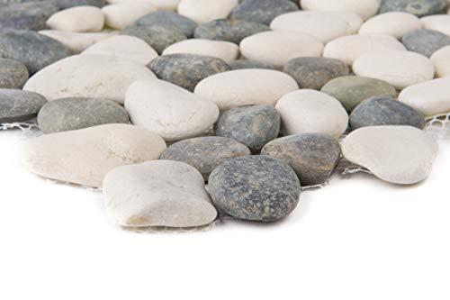 Natursteinmosaik Fliesen anthrazit weiß flusskiesel Wand Boden Dusche WC Küche | 1 Matte | ES-47635_b