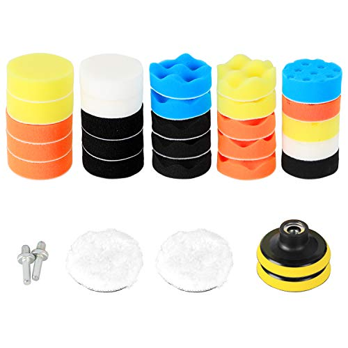 ORIENTOOLS 31Pcs 75mm Polishing Pad Kit, Sponge and Wool Buffing Pads Kit with M14 Drill Adapter for Car Care Polisher Boat Polisher