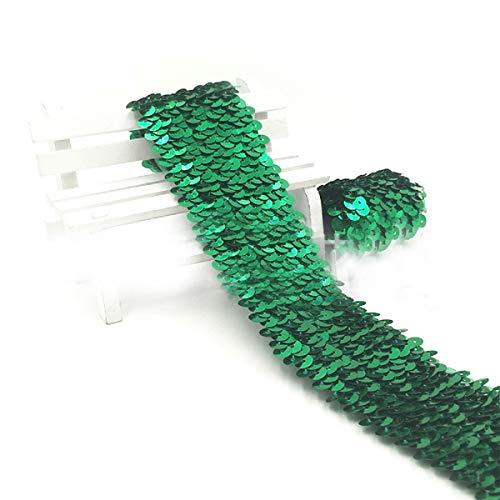 Yalulu 5 Meter 4,5 cm Breite Elastisches Glänzendes Paillettenband Glitzer Paillettenborte Bortenband Applikation für DIY Handwerk Bastelprojekte (Grün)