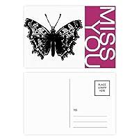 黒の蝶の標本 ポストカードセットサンクスカード郵送側20個ミス