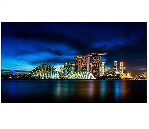 Singapore Port Architecture Night View DIY 5D Round Rhinestone Embroidery Arts and Crafts Painting Cross Stitch Kit Home Decoration Painting -40X60Cm